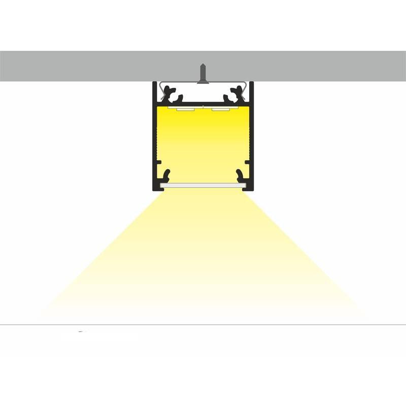 Aufbauprofil tief 200cm Schwarz ohne Abdeckung für LED-Strips 3