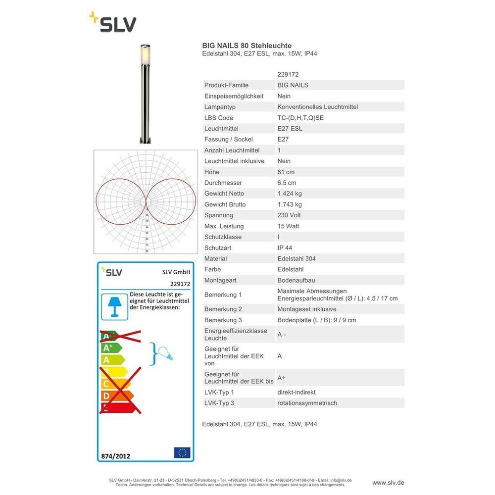SLV Big NAILS 80 Stehleuchte Edelstahl 304 E27 ESL max. 15W IP44 3