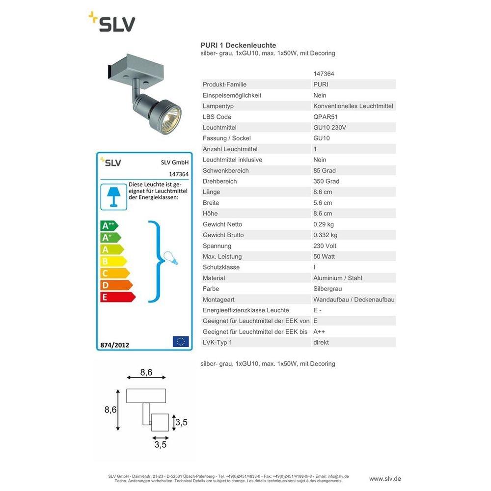 SLV Puri 1 Deckenleuchte silbergrau 1xGU10 max. 1x50W mit Decoring 2