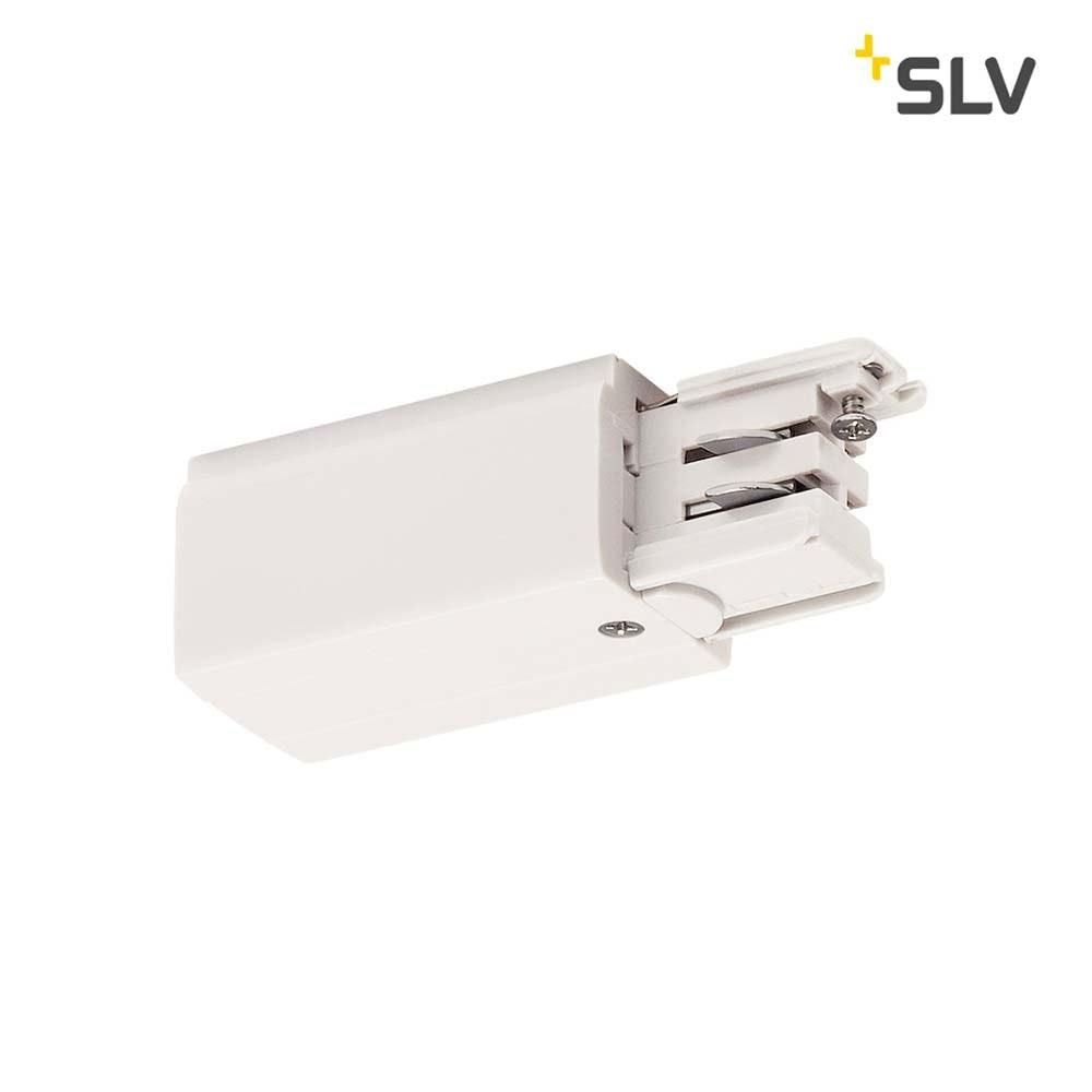 SLV Einspeiser für S-Track 3P.-Schiene Erde Rechts Weiß