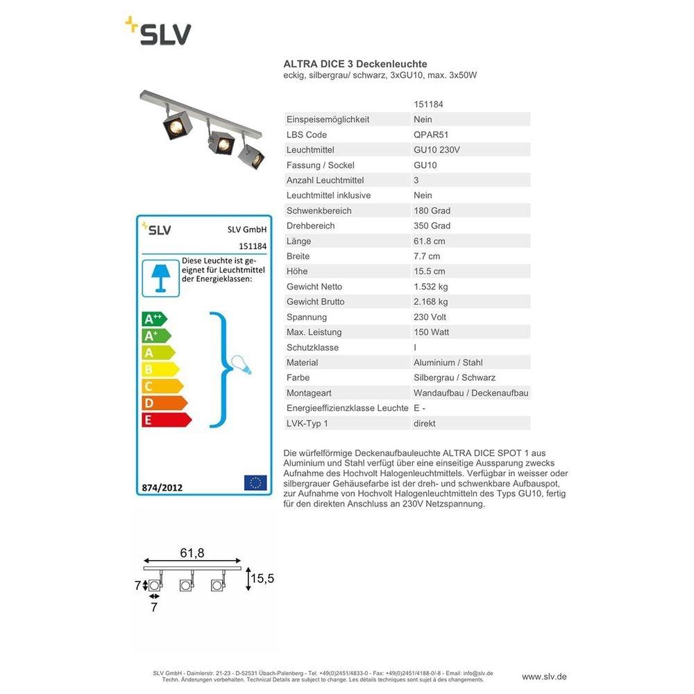 SLV ALTRA DICE 3 Deckenleuchte eckig Silbergrau Schwarz 3xGU10 max. 3x50W 2