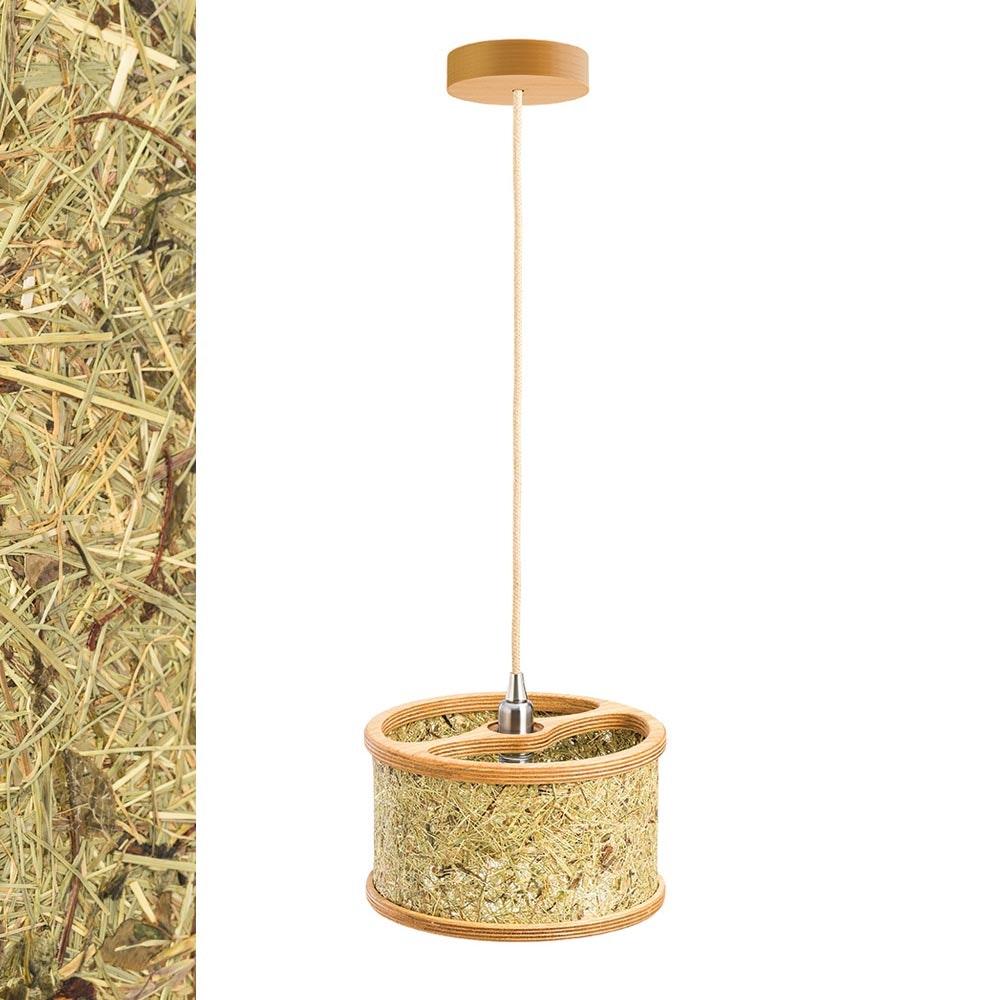Holz Hängeleuchte mit Heuschirm 1