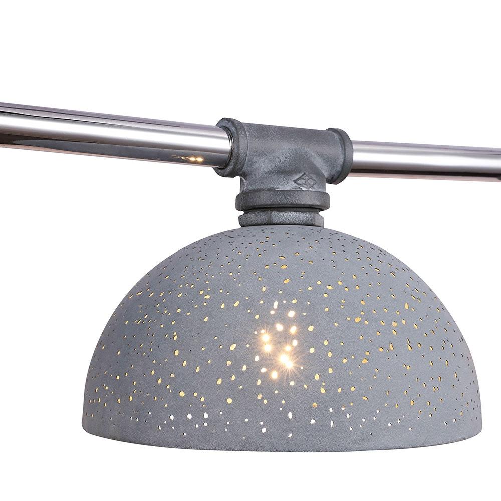 Hängeleuchte Fabian 3-flg. Schirm mit Dekorstanzungen Grau, Antik 6