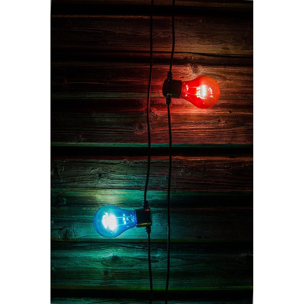 LED Biergartenkette 5er bunt mit Timer 40 Warmweiße Dioden batteriebetrieben 5