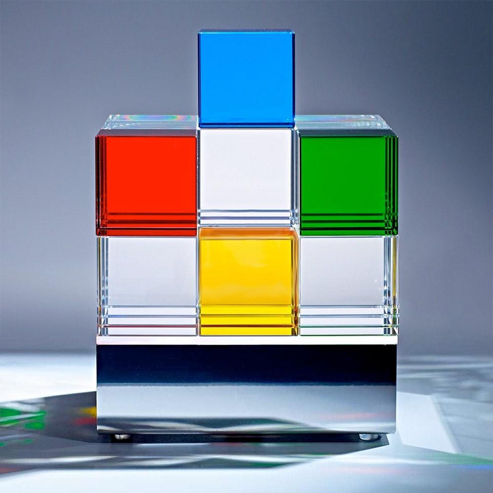 Tecnolumen Tischleuchte Cubelight Edelstahl Glas klar farbig