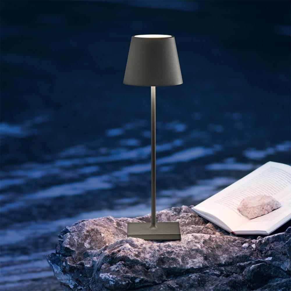 LED Akku Außen-Tischlampe Qutarg IP54 Dimmbar Schwarz thumbnail 4