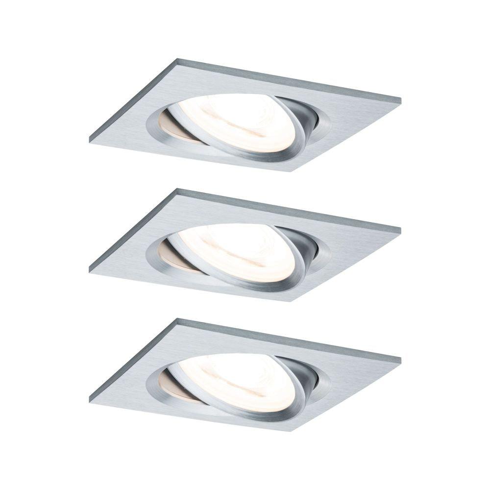 3er-Set Einbauleuchte LED Nova eckig 3-Stufen Dimmbar Alu-Gedreht 1