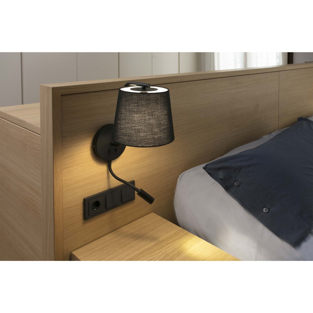 Wandlampe BERNI mit LED-Leselicht Schwarz 2