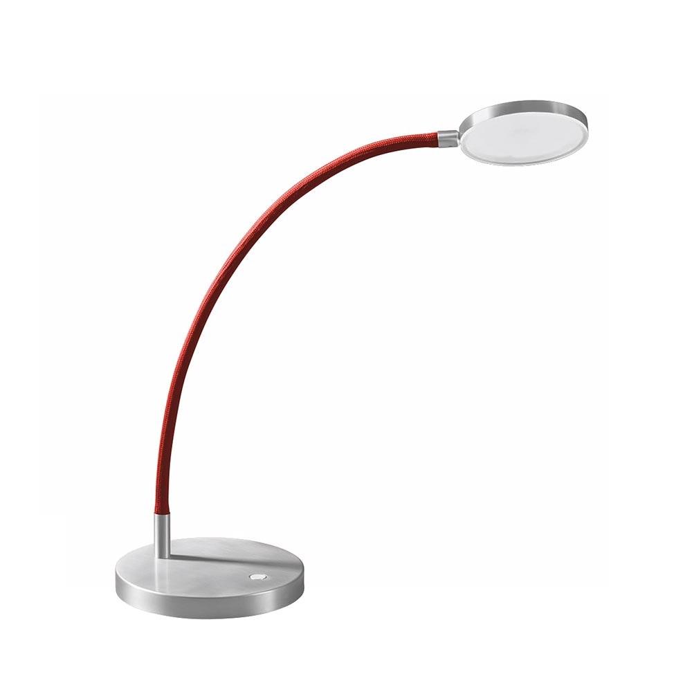 Holtkötter LED-Tischlampe FLEX T Alu-Matt, Rot mit Tastdimmer 2200lm 2700K