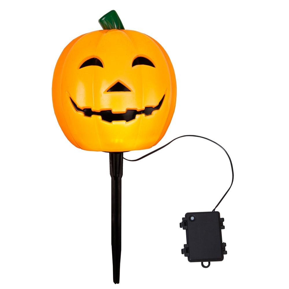 LED-Halloween-Leuchte Kürbis / Pumpkin Farbe orange ca.20x18cm,mit Erdspieß Batterie