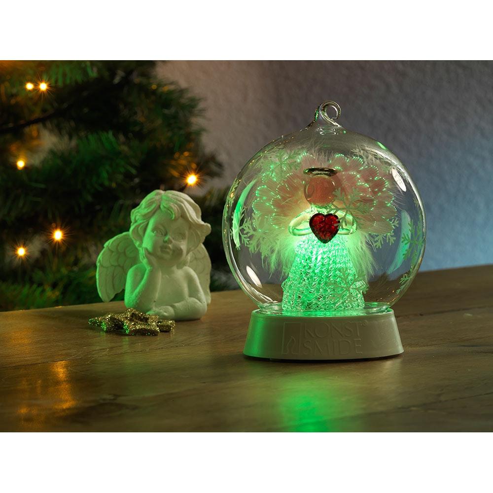 Glaskugel Engel mit 3 Funktionen Timer RGB-Farbwechsel 1 RGB Diode batteriebetrieben 2