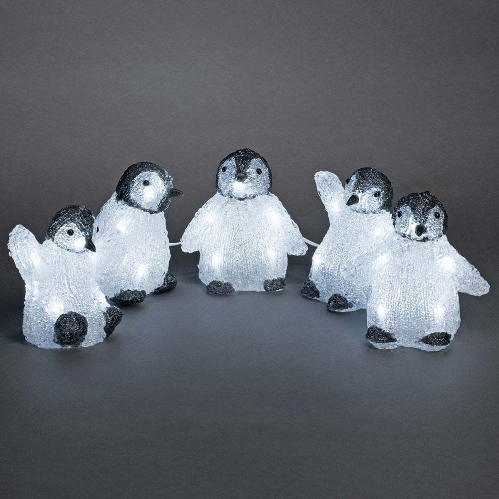 LED Acryl Babypinguine 5er-Set 40 kaltweiße Dioden IP44 2