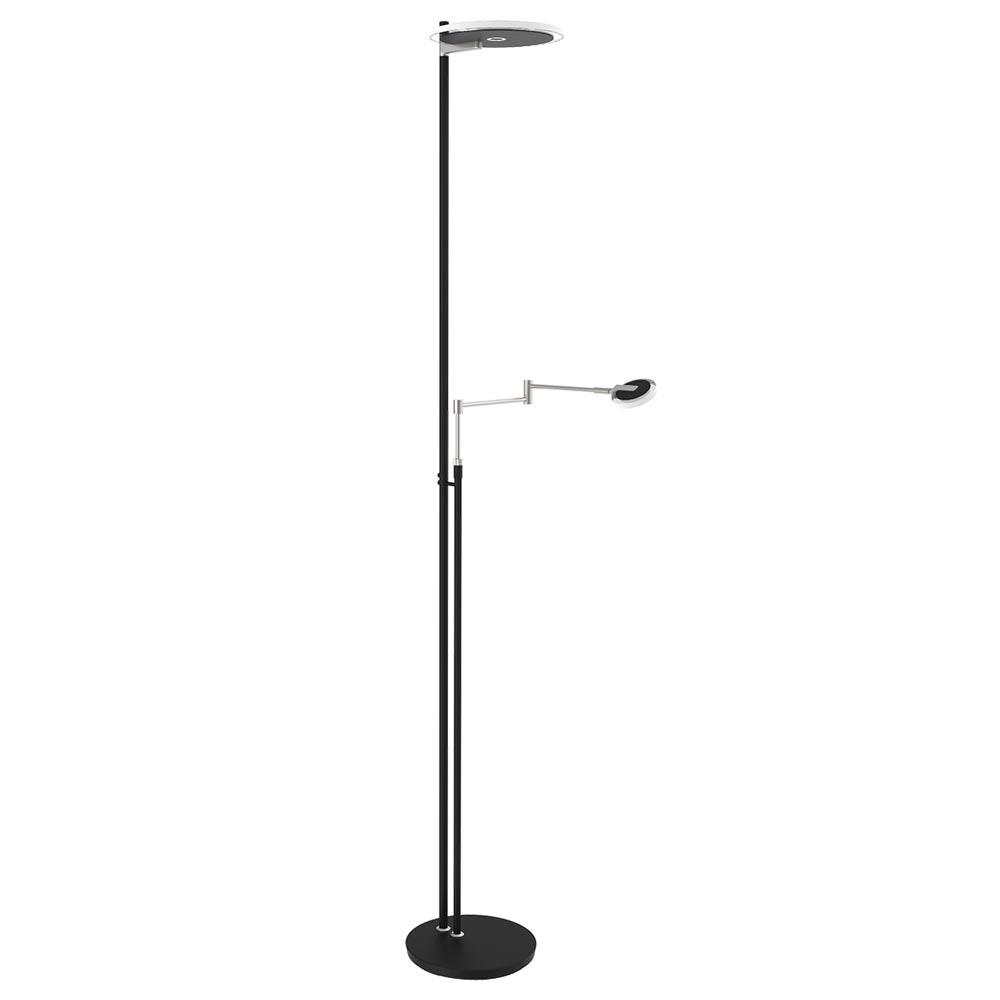 Steinhauer LED-Deckenfluter Turound LED mit Lesearm Tastdimmer 2700K 3