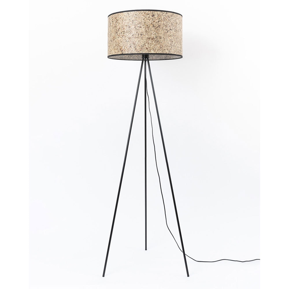 Metall Dreibein-Stehlampe mit Heuschirm