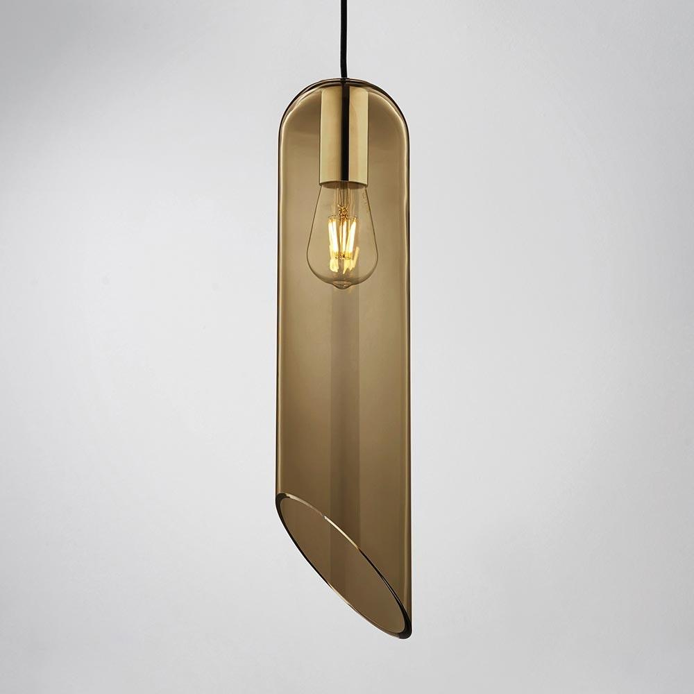 Molto Luce Loon mundgeblasener Glaszylinder H 49cm Braun 1