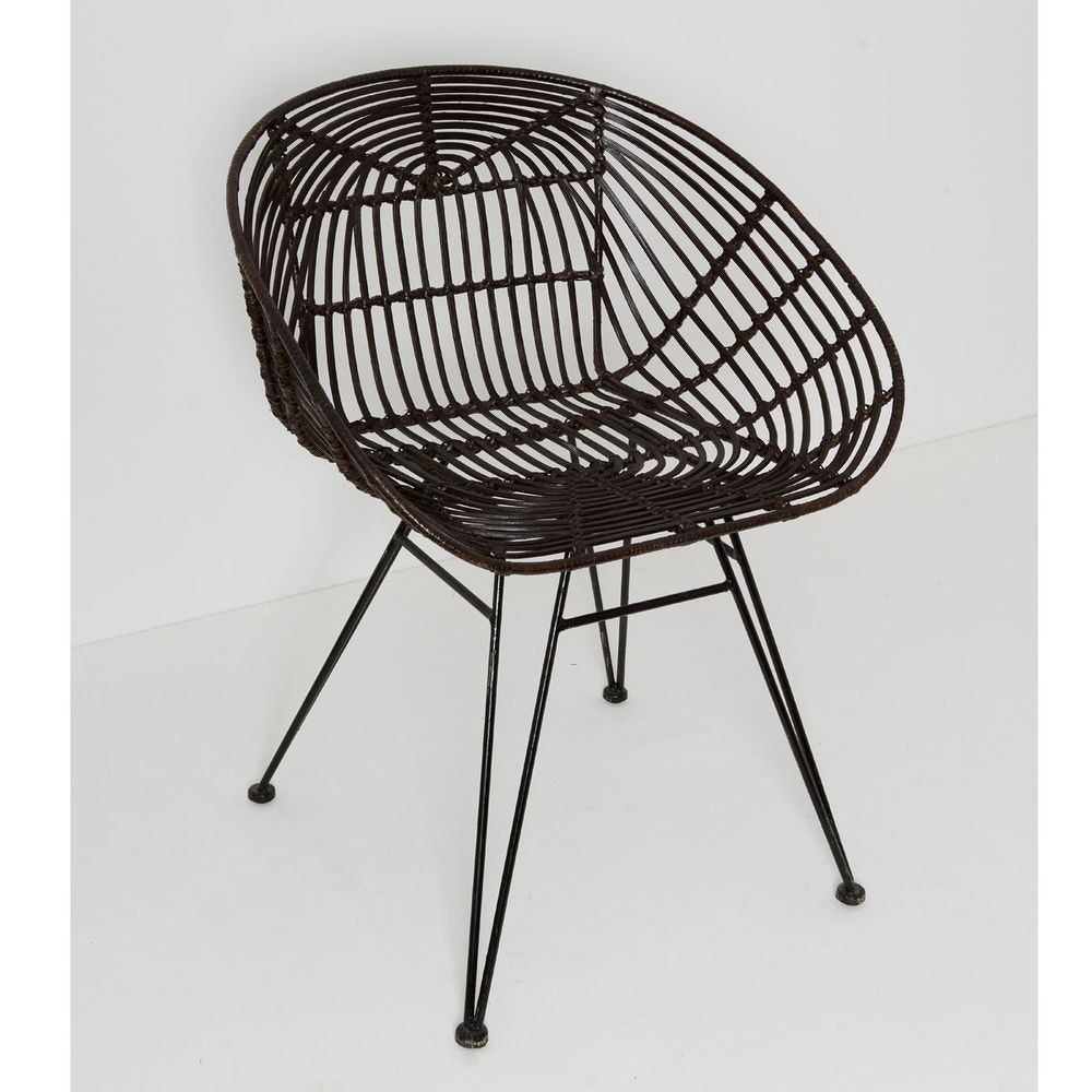 Stuhl mit Lehne Seguito Rattan-Metall Braun-Schwarz 1