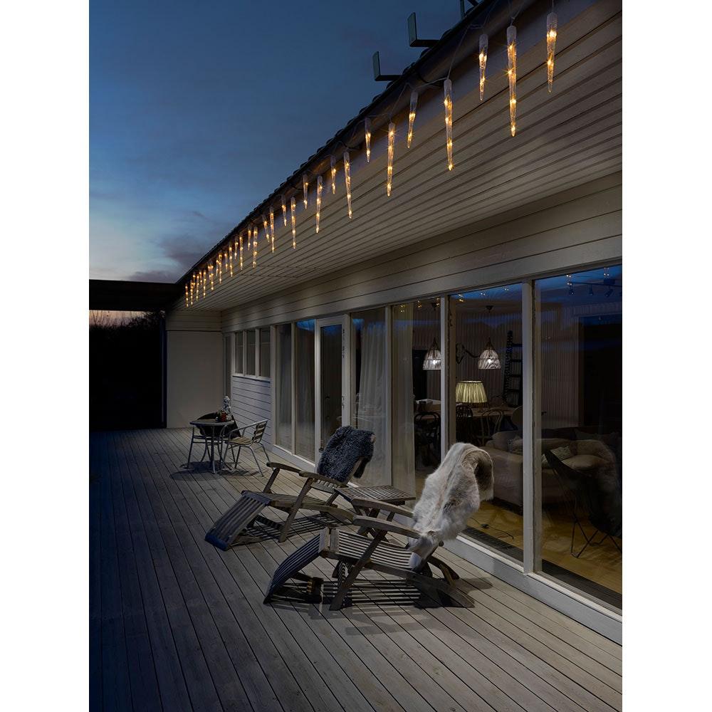 LED Eiszapfen Lichtervorhang mit 32 Zapfen 96 bernsteinfarbene Dioden IP44 1