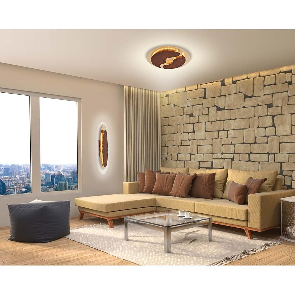 Nevis LED-Deckenleuchte blattgold-rost dimmbar über Schalter 6