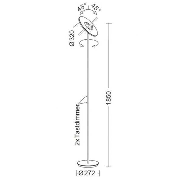 Holtkötter LED-Deckenfluter NOVA Alu-Matt Tastdimmer 7700+2200lm 2700K 4