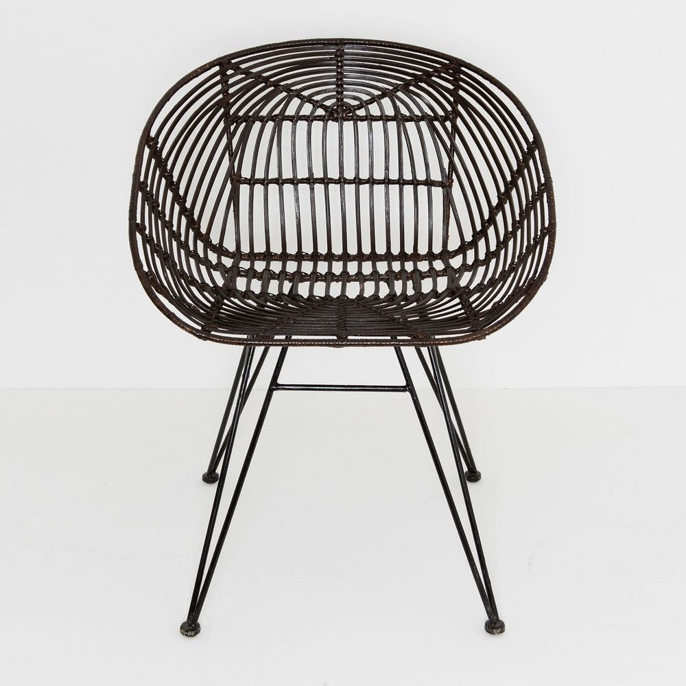 Stuhl mit Lehne Seguito Rattan-Metall Braun-Schwarz 2