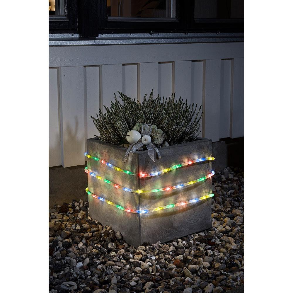LED Lichterschlauch 6m mit Lichtsensor Timer 96 bunte Dioden batteriebetrieben IP44 1