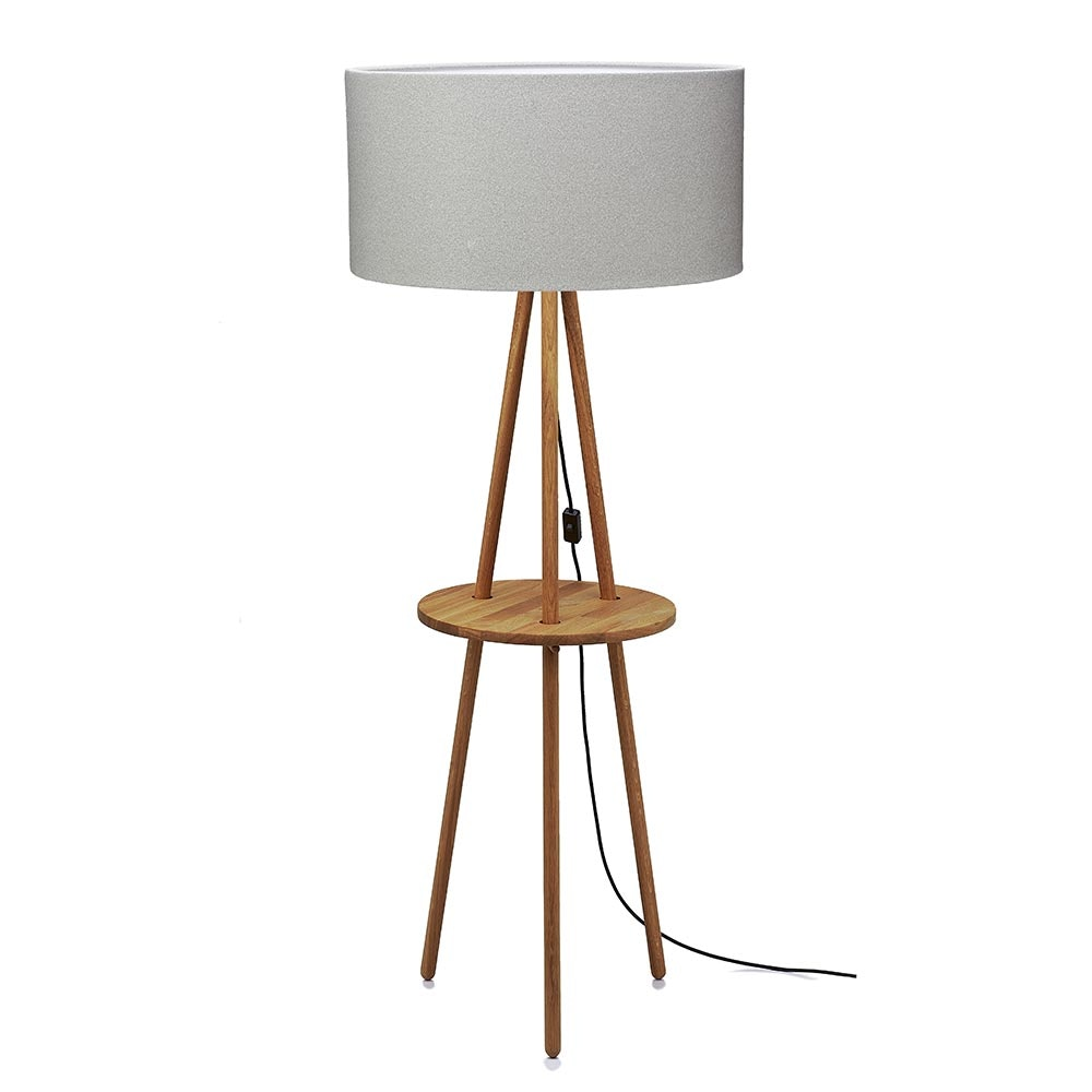 Stehlampe Eiche mit Tisch Schirm 58cm Filz Greige, Weiß