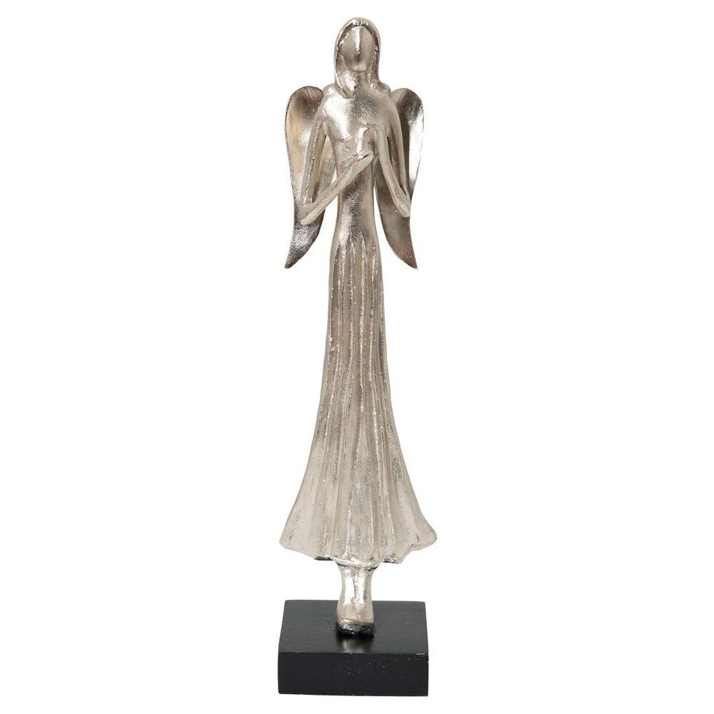 Engel Margareta Aluminium-Holz Silber-Schwarz 3