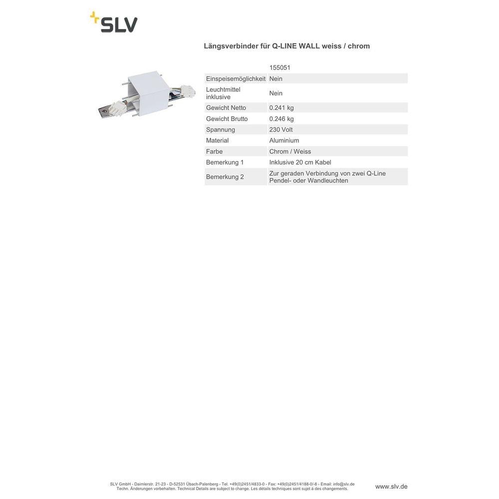 SLV Längs-Verbinder für Q-Line Wall weiss chrom 2
