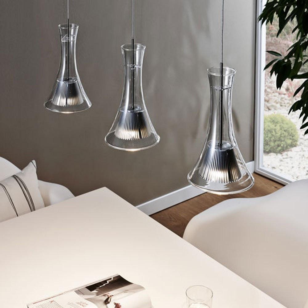 LED-Hängeleuchte 3-flammig Glas Schwarz thumbnail 3