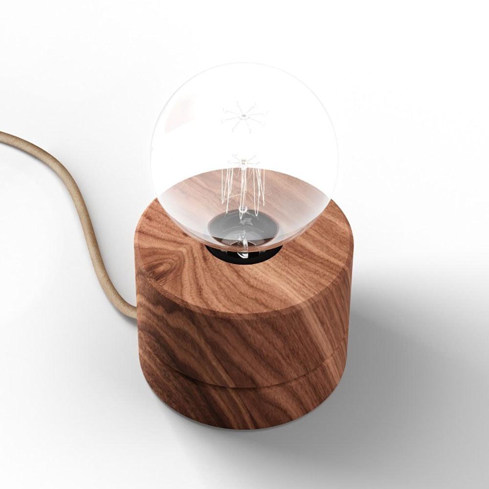 Holz Tischlampe Ø11cm in 3 Holzarten thumbnail 3
