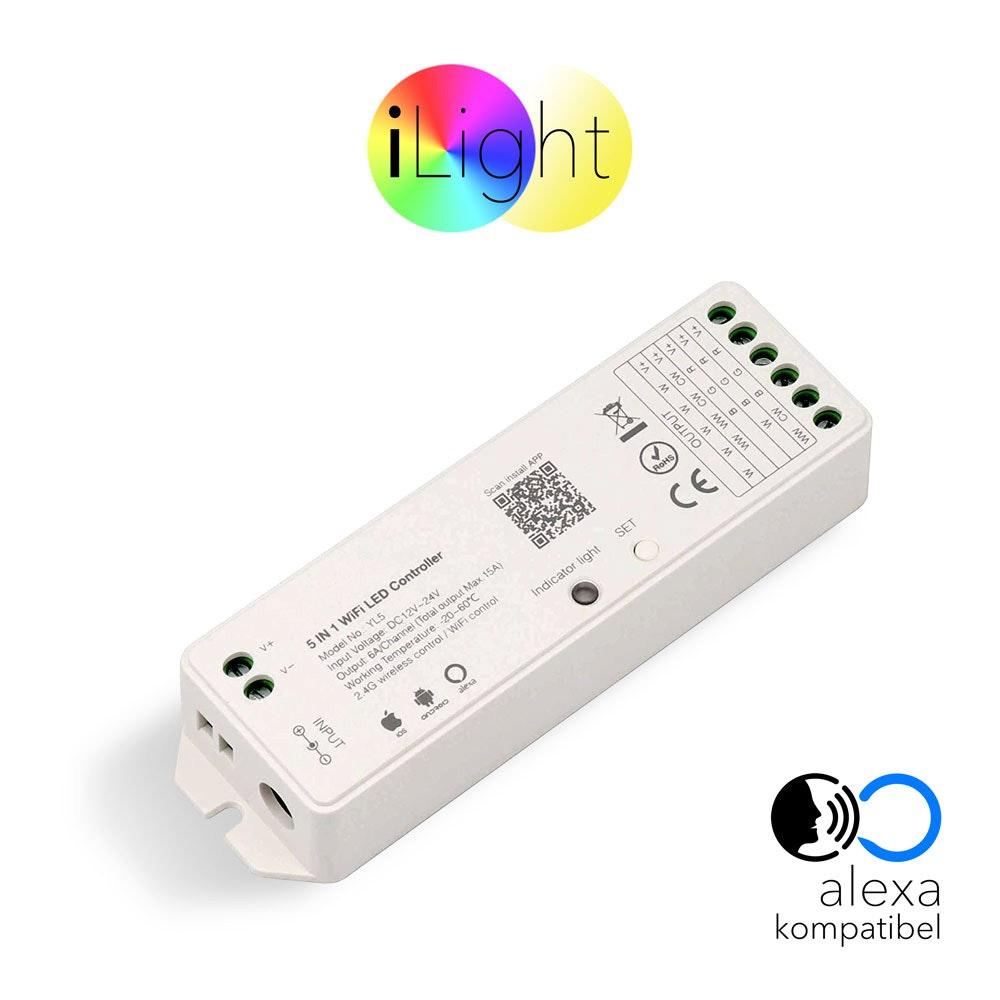 s.LUCE iLight Funk-Controller 5 in 1 Alexa Kompatibel für LED-Strips 8-Zonen