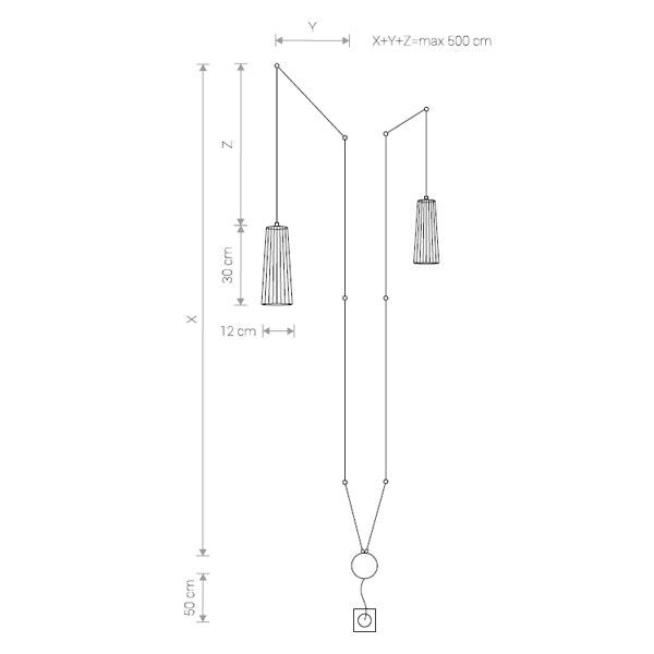 Licht-Trend Hängelampe Dover 2-flg. mit 5m Kabel Schwarz 3