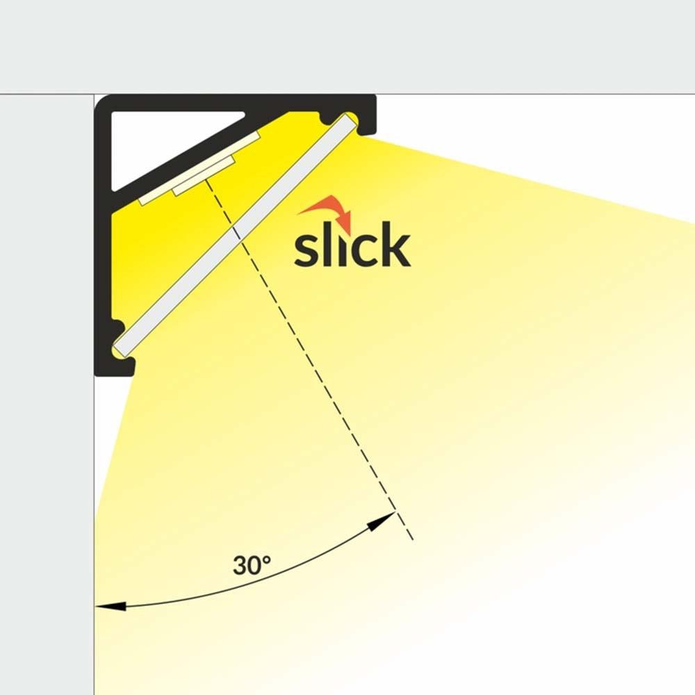 Aufbau-Eckprofil 30° & 60° 200cm Weiß ohne Abdeckung für LED-Strips 4