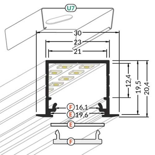 Einbauprofil tief 200cm Weiß ohne Abdeckung für LED-Strips 5