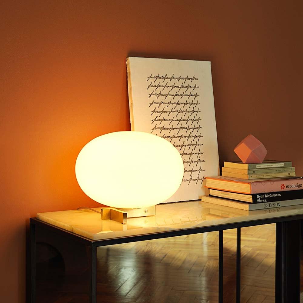 Oluce Glas Tischlampe Alba Alu, Weiß