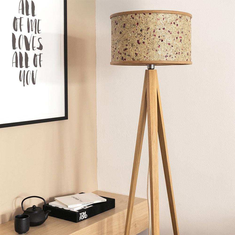 Holz Stehlampe 163cm mit Heuschirm 15