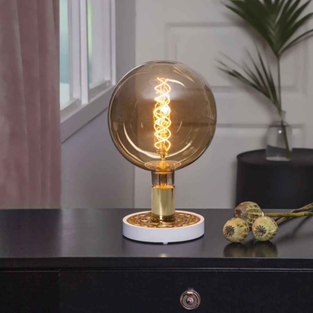 Tischlampe für E27 Leuchtmittel in Weiß und Goldfarben 8
