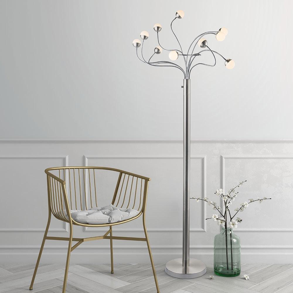 LED Stehleuchte Roslin 10 x Flexo Nickel-Matt, Opal, Weiß 1