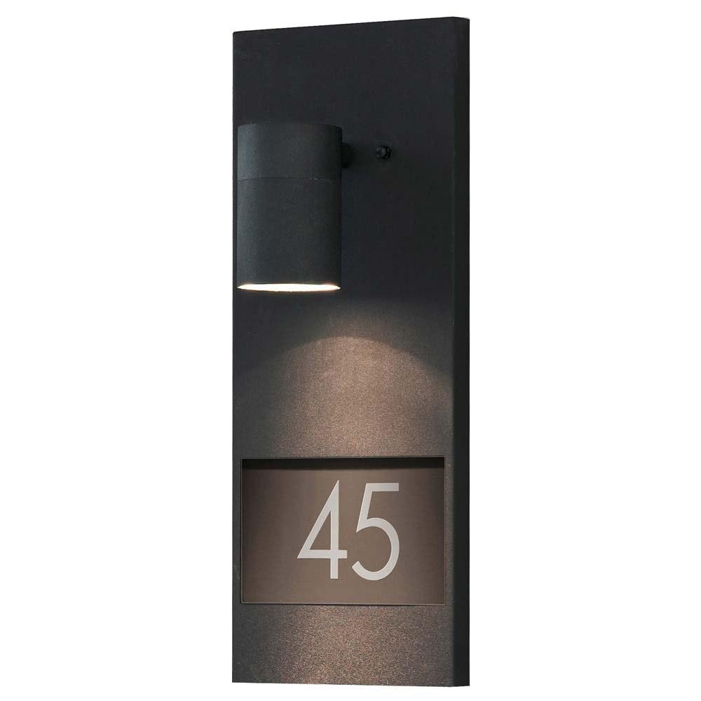 Modena Aussen-Wandleuchte mit Hausnummern Schwarz Schwarz, klares Glas, Reflektor 2