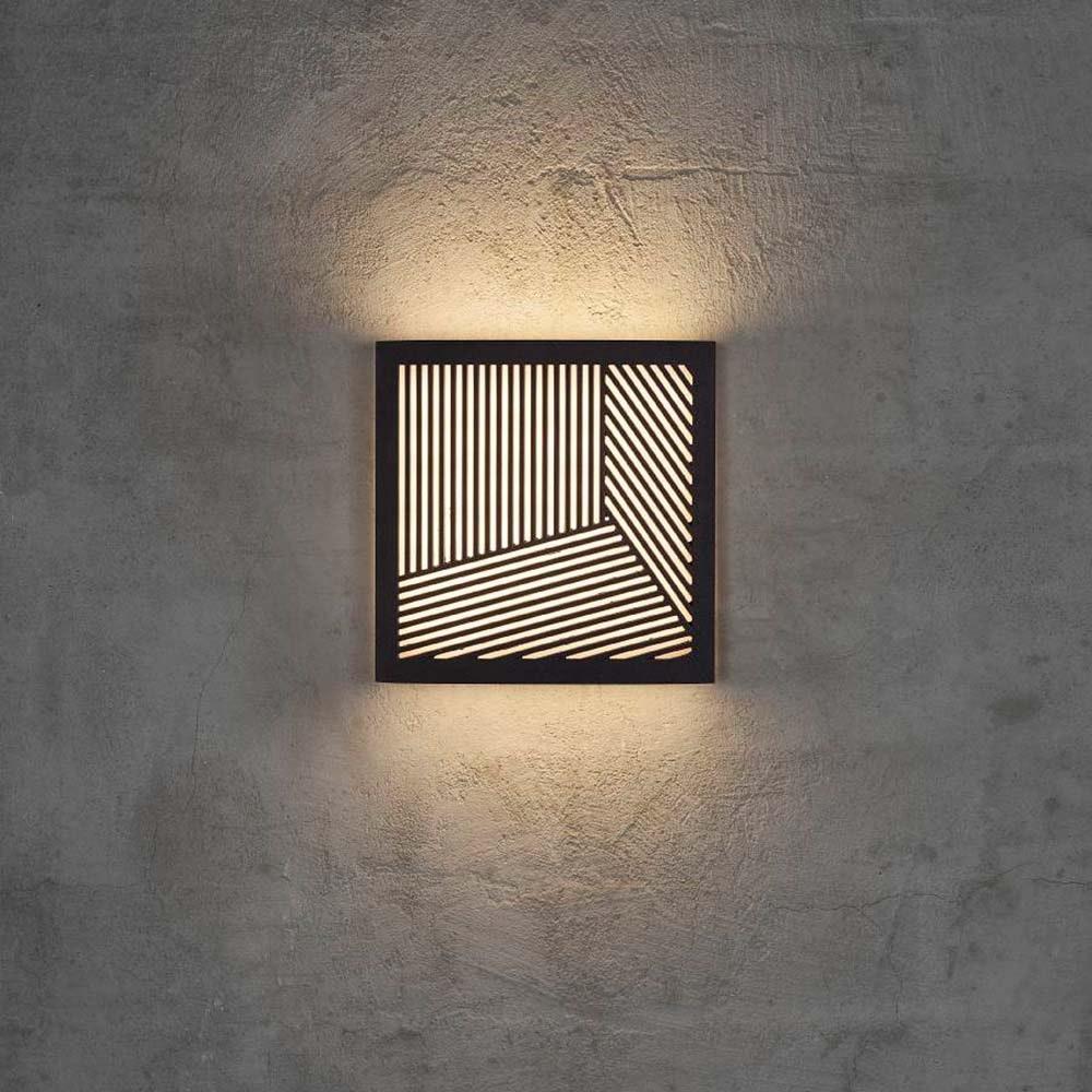 Design for the People LED Aussen-Wandlampe Maze Straight IP44 Schwarz, Opal Weiß 1