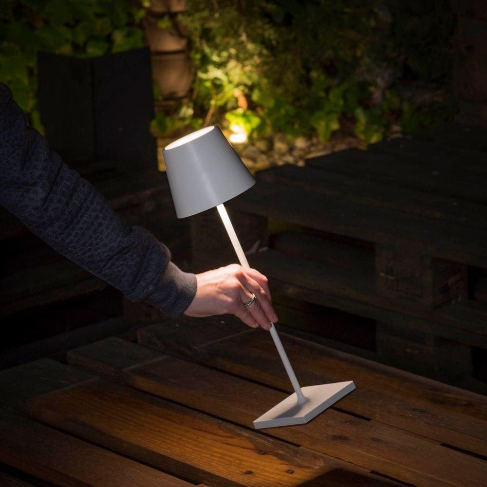 LED Außen-Tischleuchte Qutarg mit Akku IP54 Dimmbar Grau 8