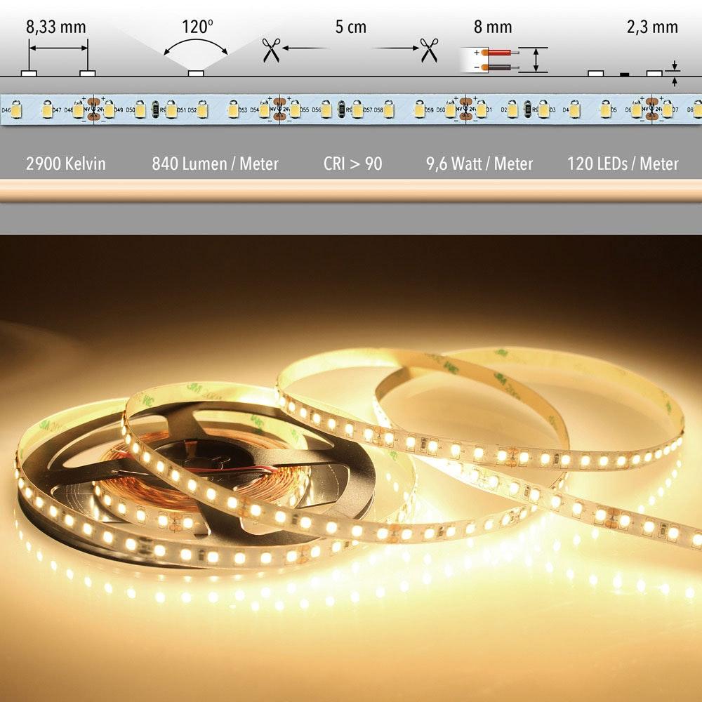 5m LED-Strip 9, 6 W/m Warmweiß IP20