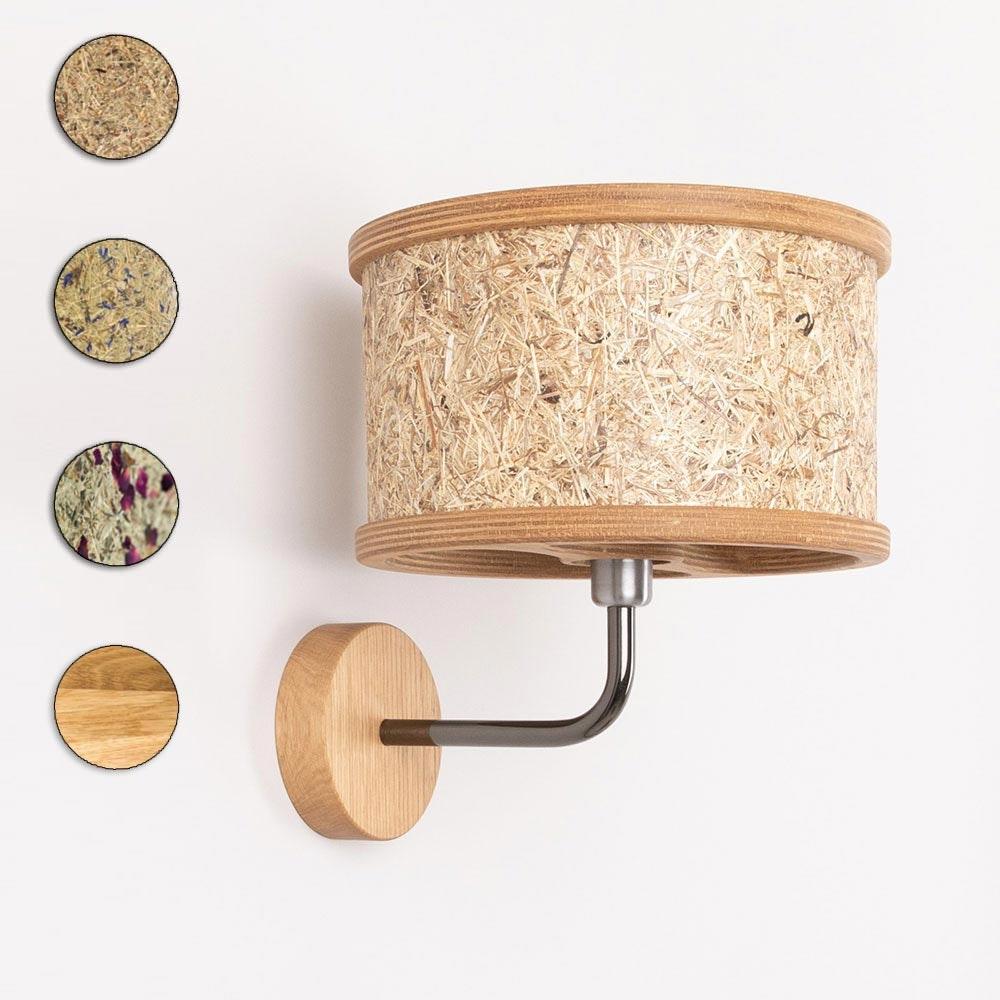Holz Wandleuchte Ø 25cm mit Heuschirm thumbnail 6