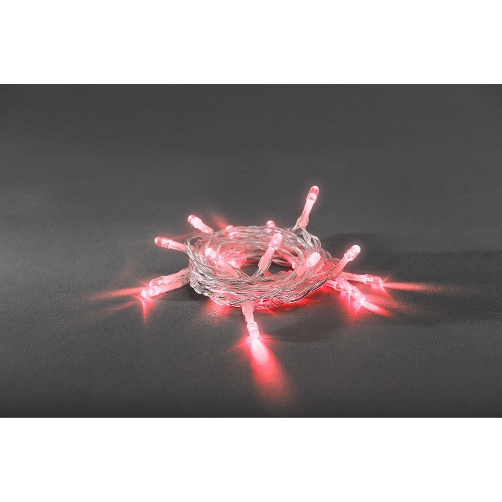 LED Lichterkette Timer 20 rote Dioden batteriebetrieben