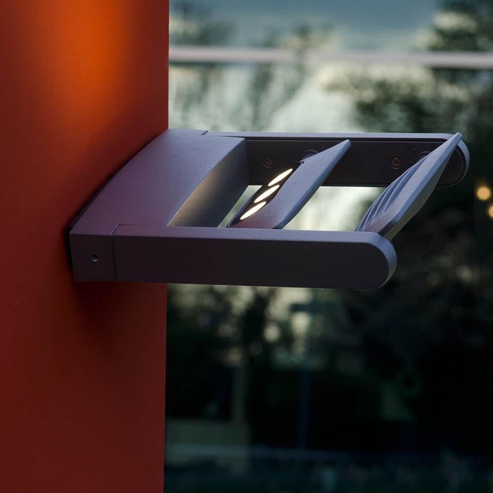 Mini LED Spot 2-flg. verstellbare Außenwandleuchte IP65 Anthrazit 3