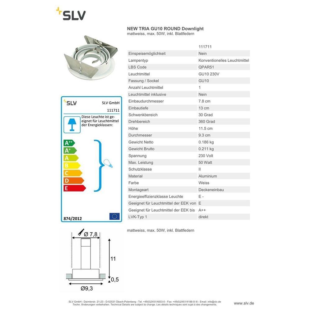 SLV New Tria GU10 Round Downlight Weiß max. 50W inkl. Blattfedern 2