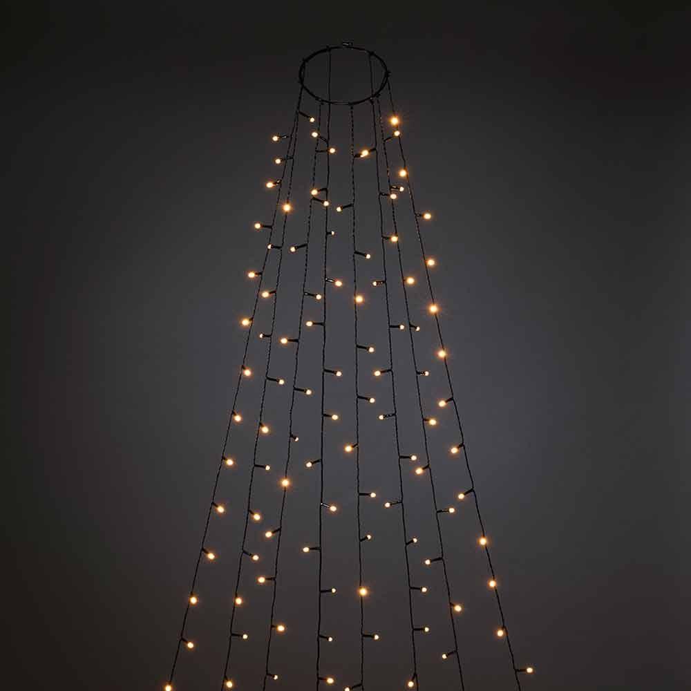 LED Baummantel mit Ring, Glimmereffekt & 8h Timer Schwarz 3