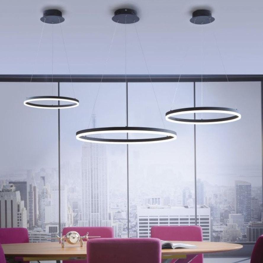 Ring L LED-Hängeleuchte dimmbar über Schalter Ø 80cm Anthrazit 1