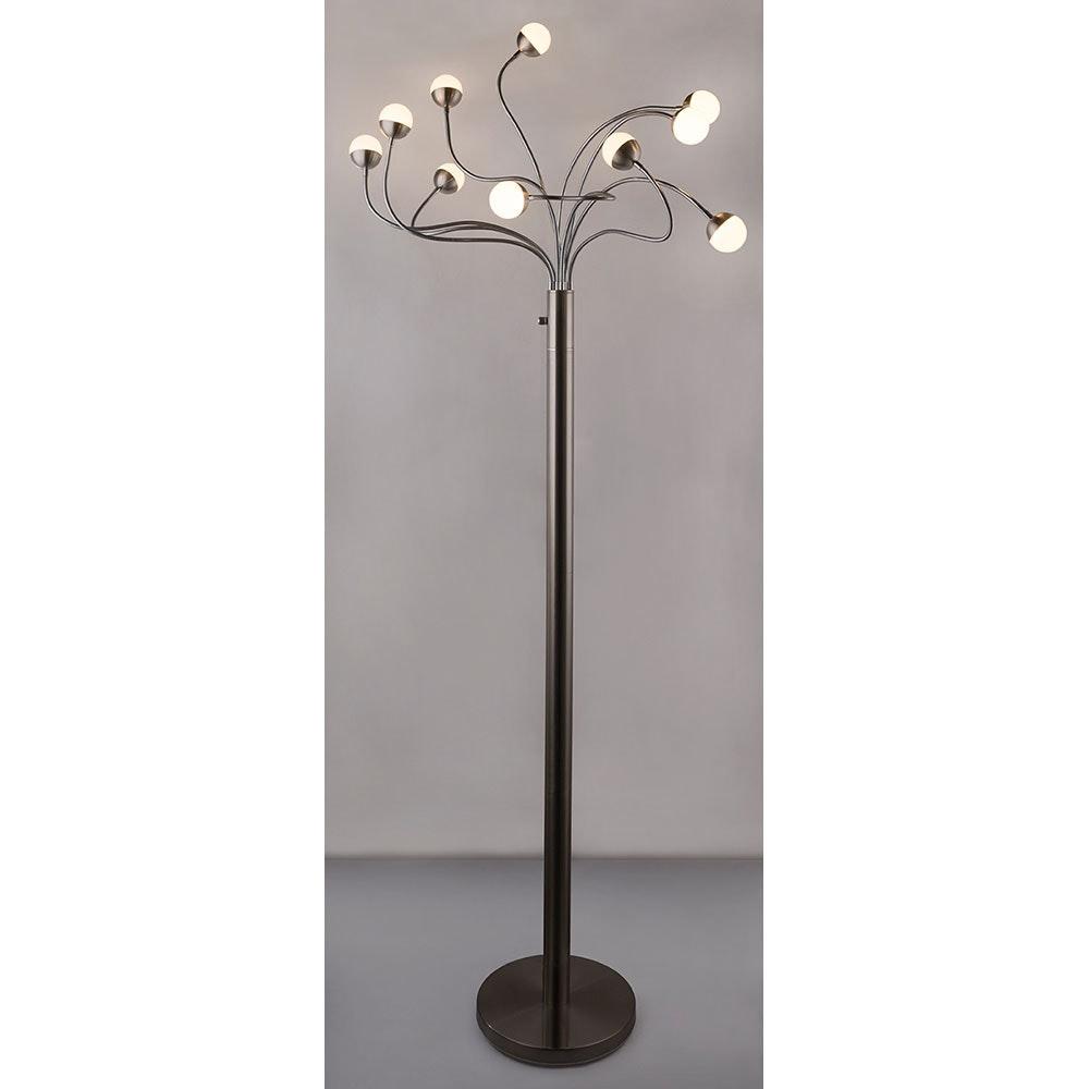 LED Stehleuchte Roslin 10 x Flexo Nickel-Matt, Opal, Weiß 9