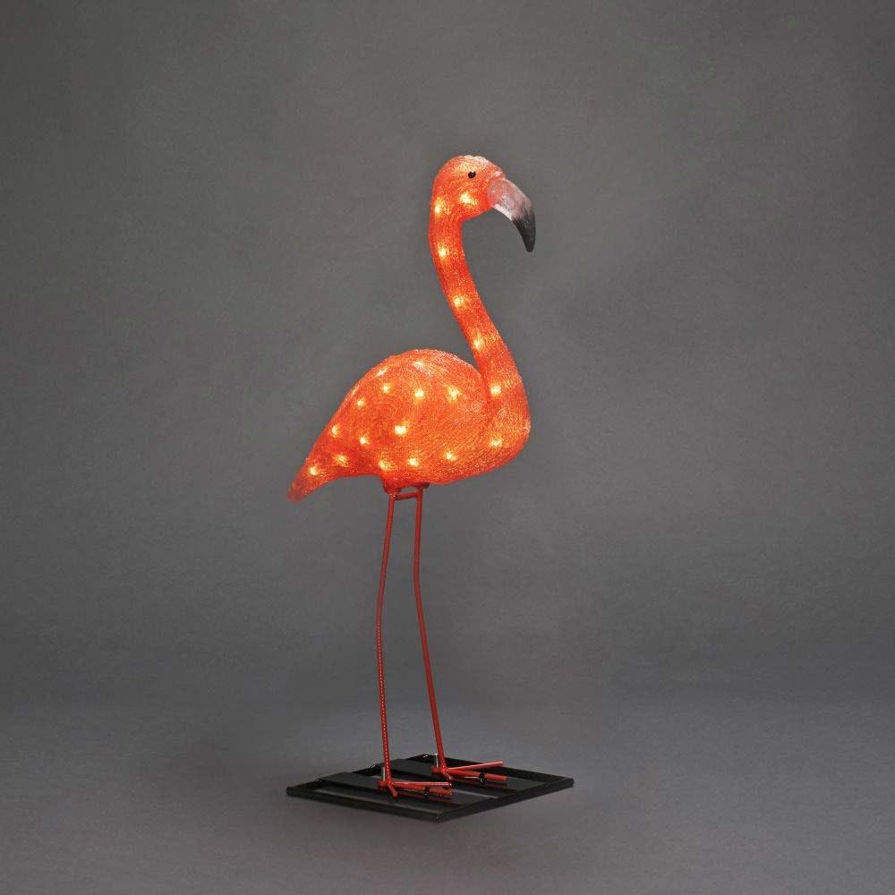 LED Acryl Flamingo klein 48 bernsteinfarbene Dioden IP44 2